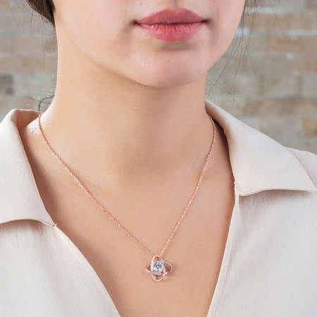 Zirkon Tektaşlı Samanyolu Tasarım Rose Renk 925 Ayar Gümüş Kolye - Thumbnail