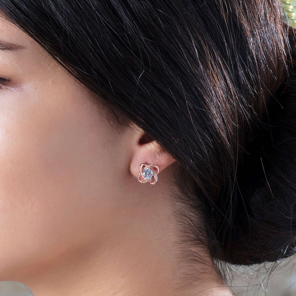 Zirkon Tektaşlı Samanyolu Tasarım Rose Renk 925 Ayar Gümüş Küpe