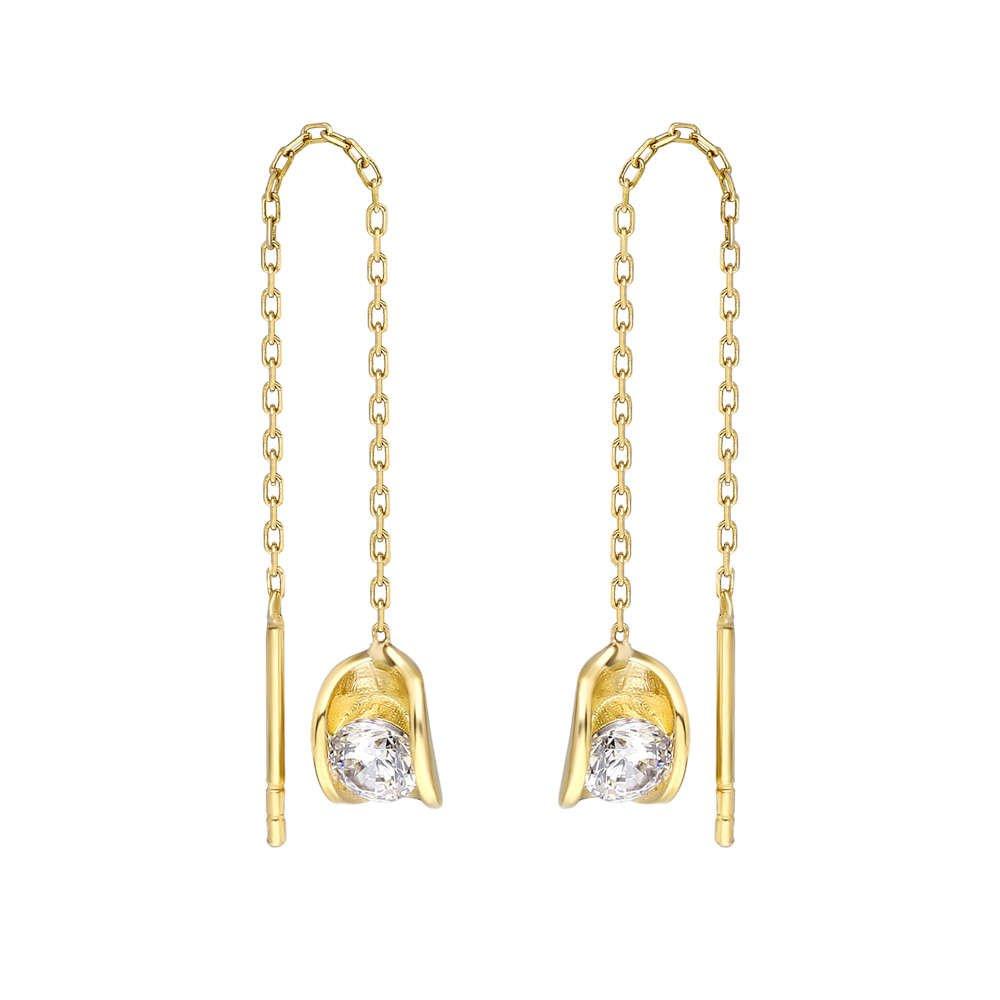Zirkon Tektaşlı Sandviç Tasarım Gold Renk 925 Ayar Gümüş Sallantılı Küpe