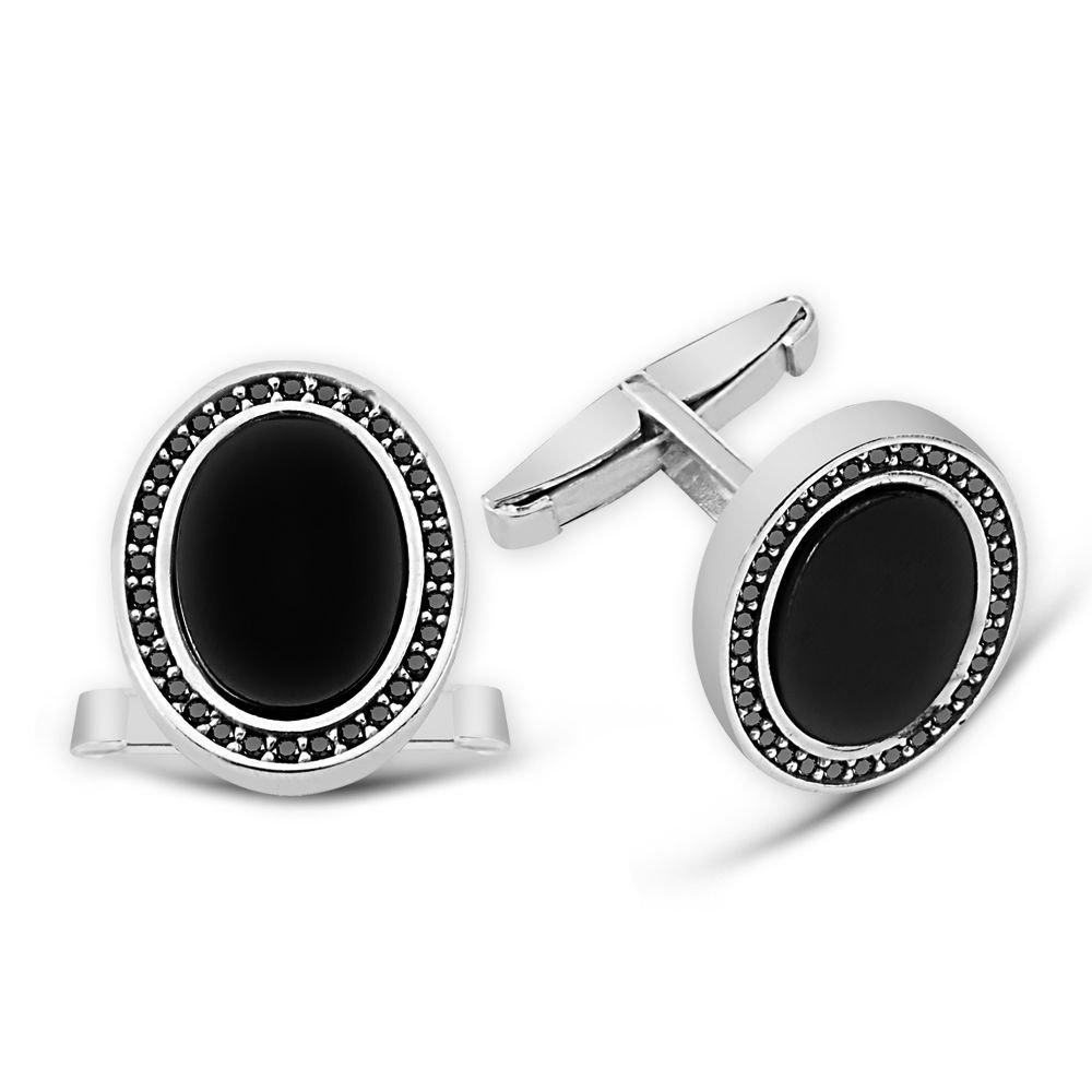 Zirkon ve Oniks Taşlı Oval Tasarım 925 Ayar Gümüş Kol Düğmesi