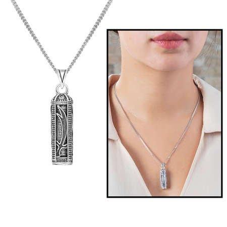 Zülfikar Kılıç İşlemeli 925 Ayar Gümüş Cevşen Kolye - Thumbnail