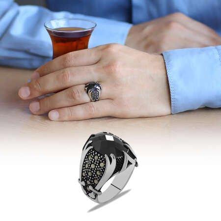 Zülfikar Kılıcı Temalı Siyah Zirkon Taşlı 925 Ayar Gümüş Erkek Yüzük - Thumbnail