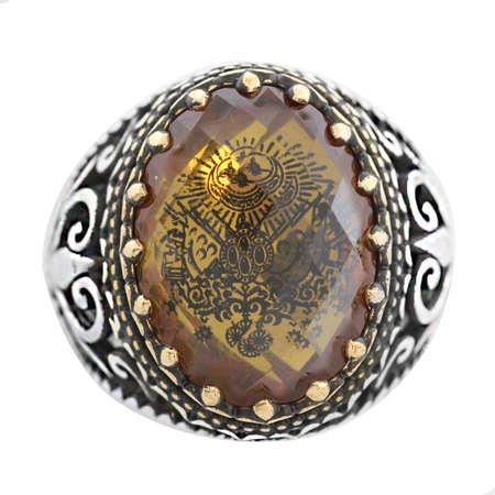 Zultanit Taş İçine Özel Arma İşlemeli 925 Ayar Gümüş Erkek Yüzük - Thumbnail