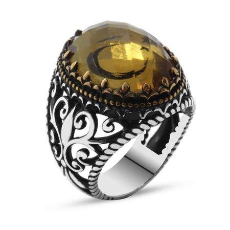 Zultanit Taş İçine Özel Ayyıldız İşlemeli 925 Ayar Gümüş Erkek Yüzük - Thumbnail