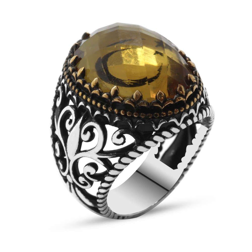 Zultanit Taş İçine Özel Ayyıldız İşlemeli 925 Ayar Gümüş Erkek Yüzük
