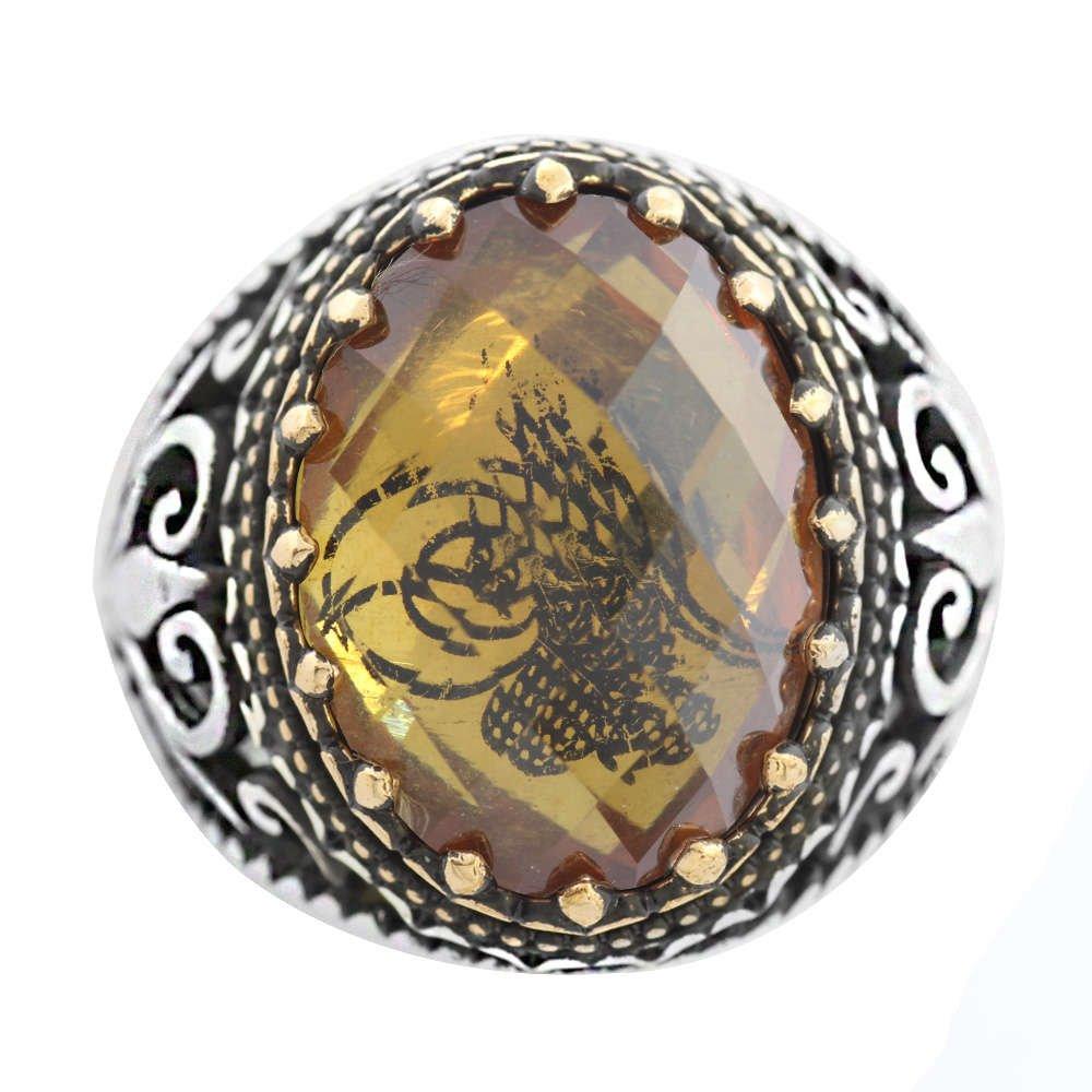 Zultanit Taş İçine Özel Tuğra İşlemeli 925 Ayar Gümüş Erkek Yüzük