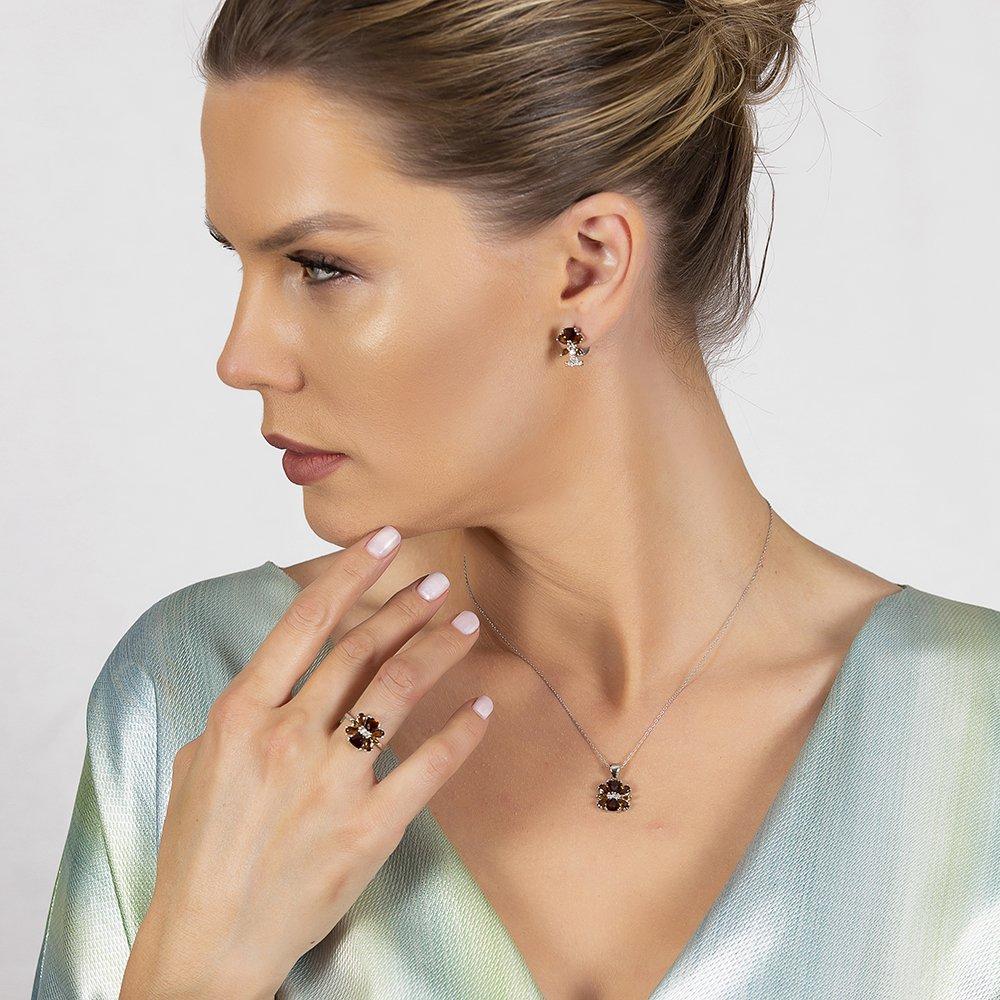 Zultanit Taşlı Kır Çiçeği Tasarım 925 Ayar Gümüş 3'lü Takı Seti