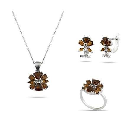 Zultanit Taşlı Kır Çiçeği Tasarım 925 Ayar Gümüş 3'lü Takı Seti - Thumbnail