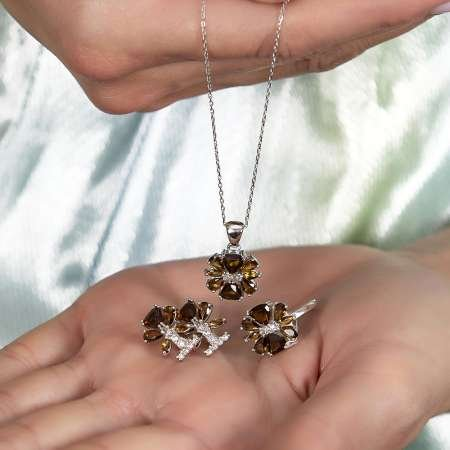 Zultanit Taşlı Kır Çiçeği Tasarım 925 Ayar Gümüş 2'lü Takı Seti - Thumbnail