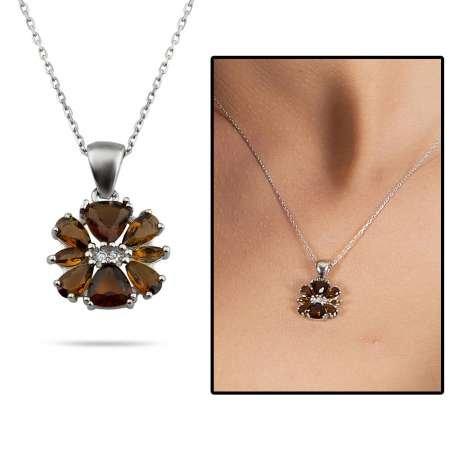 Zultanit Taşlı Kır Çiçeği Tasarım 925 Ayar Gümüş Kadın Kolye - Thumbnail