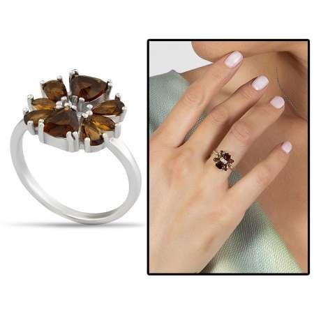 Zultanit Taşlı Kır Çiçeği Tasarım 925 Ayar Gümüş Kadın Yüzük - Thumbnail