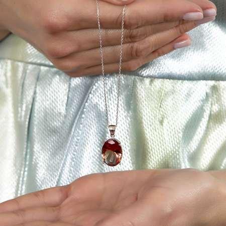 Zultanit Taşlı Oval Tasarım Büyük Boy 925 Ayar Gümüş Kadın Kolye - Thumbnail
