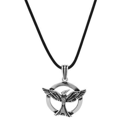 Zümrüd-ü Anka Tasarım İp Zincirli 925 Ayar Gümüş Erkek Kolye - Thumbnail