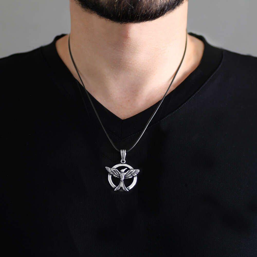 Zümrüd-ü Anka Tasarım İp Zincirli 925 Ayar Gümüş Erkek Kolye